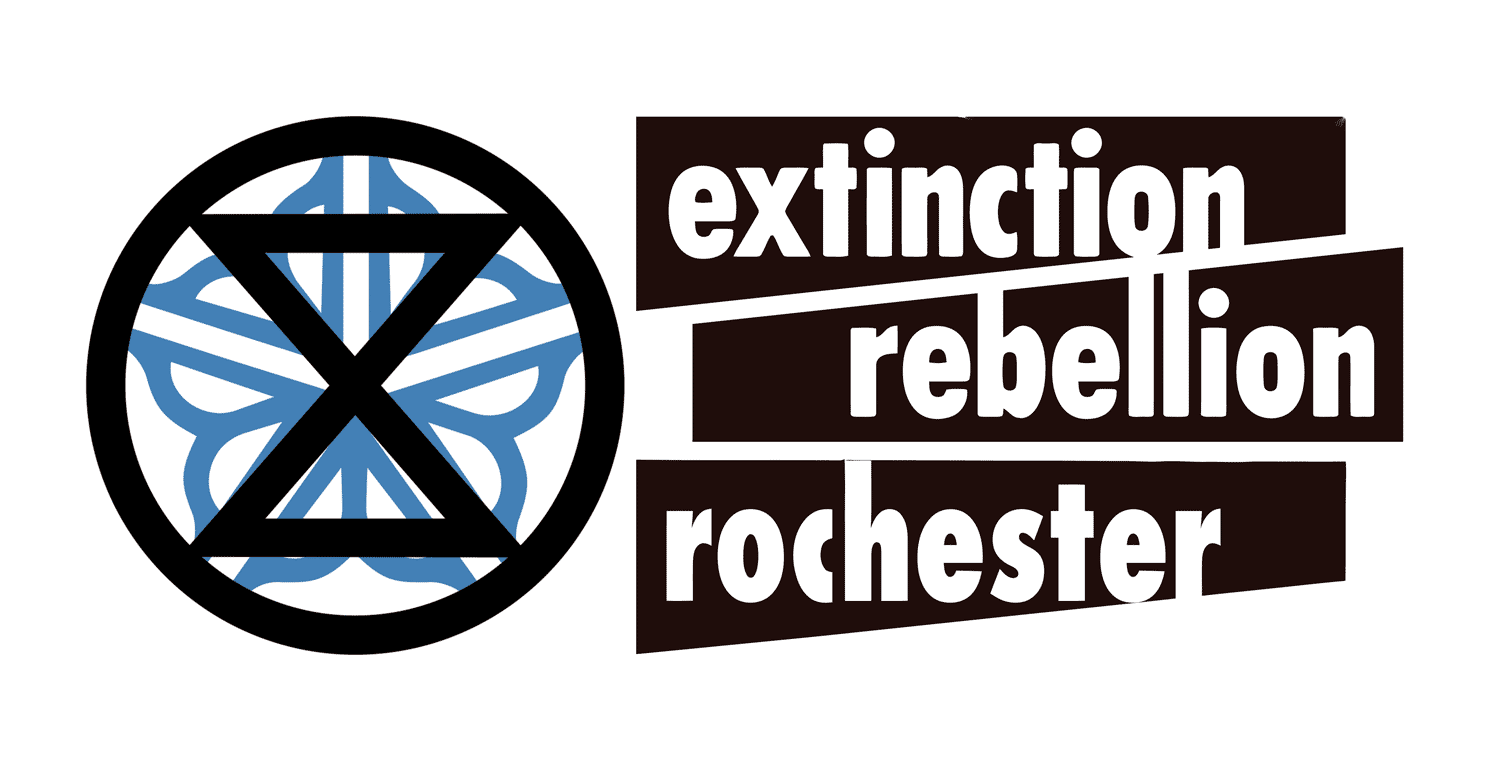 XR Rochester logo with Extinction Symbol and Rochester City Flower Logo